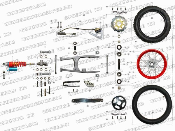 AGB-37CRF-125-04 REAR WHEEL ASSEMBLY